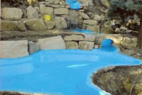 Fibreglass pond liners linings barnsley south yorkshire for Blue koi pond liner